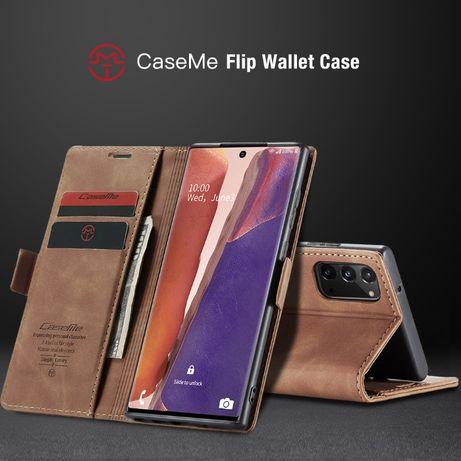 Husa Samsung Note 20, piele, textura catifelata, portofel, CaseMe