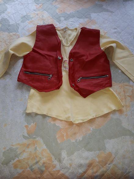 Детска блузка с кожено елече