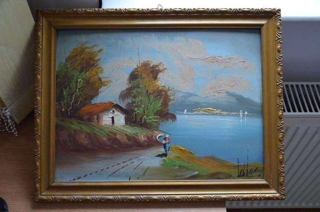 Tablou vechi pictat si semnat / Pictura veche semnatura / pictat ulei