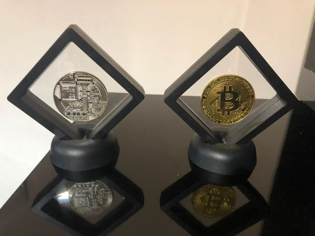 Vand moneda colectie bitcoin - 1 BTC - placata cu aur sau argintata