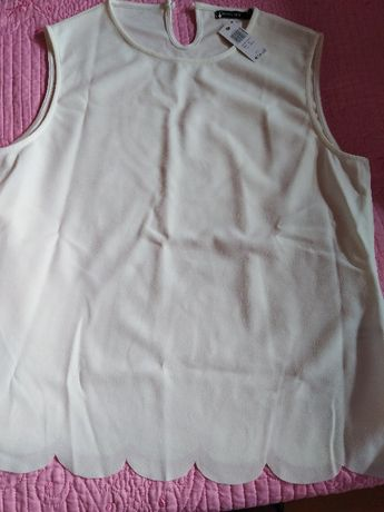 Дамска блуза без ръкав бяла луксозна