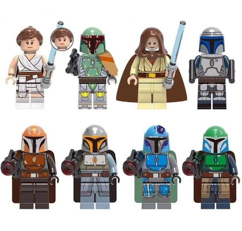 Set 8 Minifigurine noi tip Lego Star Wars cu Luke, Rey si Mandalorians
