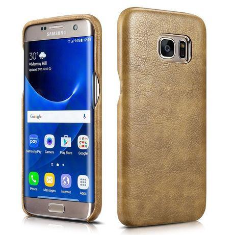 Husa Samsung Galaxy S7 Edge, piele Xoomz fara clapeta, cu detalii gold