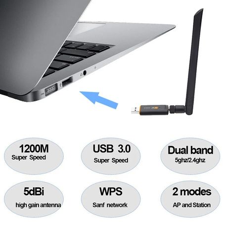 USB 3.0 Adaptor Wireless Dual Band 1200Mbps