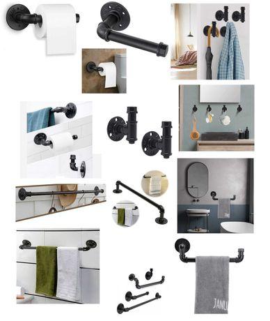 Pipe Industrial Set Suport Prosop MareMic/Hârtie igienică/Cârlig halat