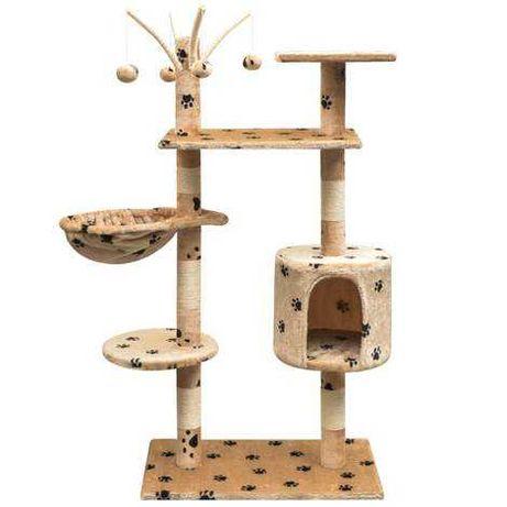 Ansamblu pisici, funie de sisal, 125 cm, imprimeu lăbuțe, bej