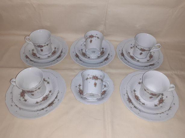 Set cafea si mic dejun portelan Bavaria Eschenbach 17 piese- IMPECABIL