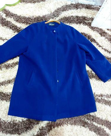 Пальто стильное синее