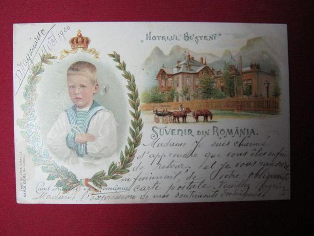 Ilustrata veche,Litografie,regalista.Carol II copil,Busteni.1900.