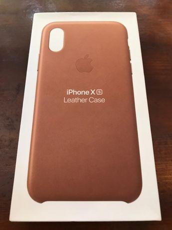 Husa Piele APPLE iPhone Xs Saddle Brown Maro ORIGINALA! Folie Cadou