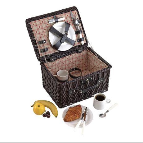 Cos de picnic din rachita, 2 persoane, maro, nou, sigilat