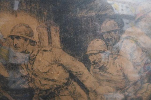 Carbune Primul Razboi 1918 50/40cm Stoica D. Ion Dumitrescu 1886-1956