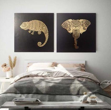 Пано картина в черно и златно Мандала Слон