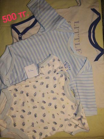Одежда для малыша до 1 года, слипы, бодики, комплект 500 тг.
