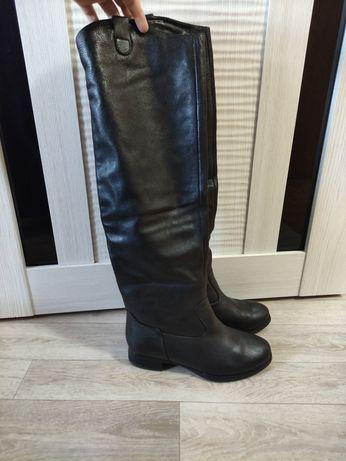 Сапоги ботфорты зимние кожаные