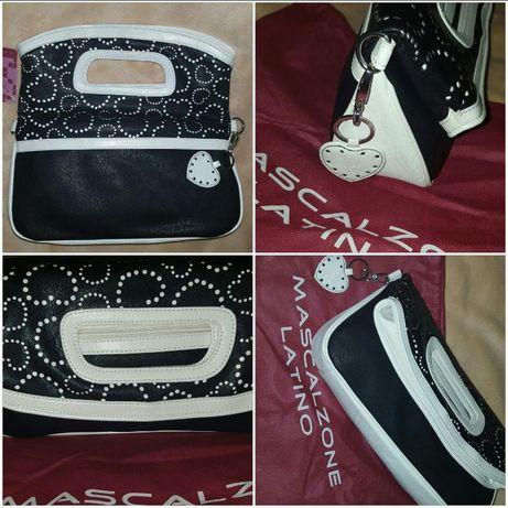 Нова чанта-плик италианска оригинал #Mascalzone Latino черно и бяло