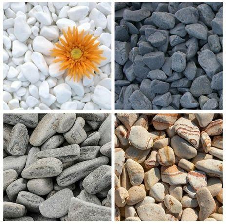 Pietricele rotunjite decorative piatra marmura alba thasos neagra bej