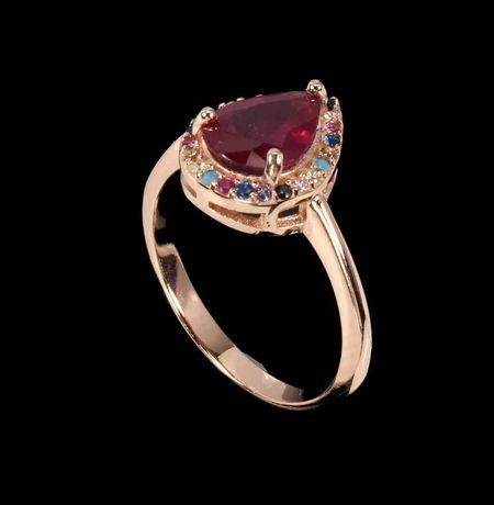 Inel din argint suflat cu aur cu rubin si zirconii multicolore