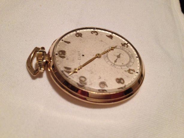 Ceas de buzunar Elgin, placat cu aur de 10K , 17 rubine, made in USA