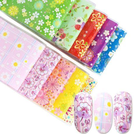10 цвята комплект фолио за маникюр Т25