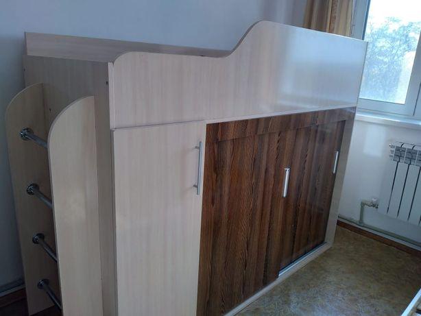 Детская кровать чердак односпальная со шкафом