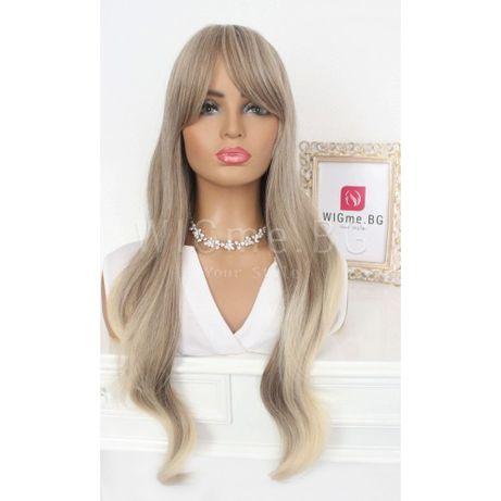 Дълга руса перука на вълни с бретон Беатрис