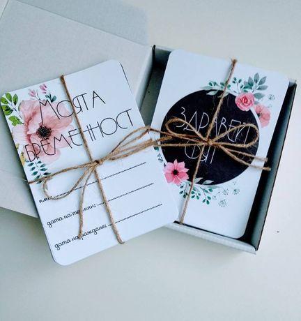 Фото карти за бременни и бебе фото карти с флорални мотиви