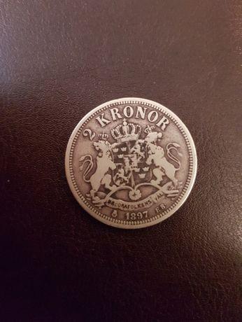 Moneda argint Suedia 2 Kronor 1897 15gr