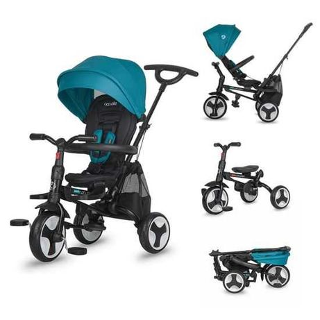 Tricicleta ultrapliabila Coccolle Spectra Plus turcoaz, suport bebe