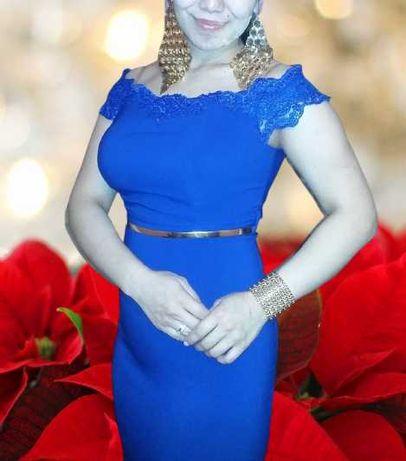 ВЕЧЕРНЕЕ ПЛАТЬЕ длинное, синего цвета, Кызылорда