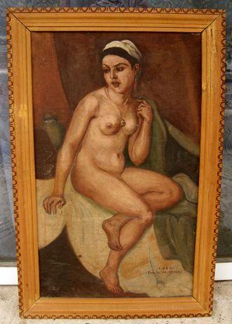 Tablou nud copie veche de epoca dupa C Ressu Aise, ulei pe panza 1929