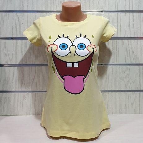 Нова дамска тениска с щампа Спондж боб