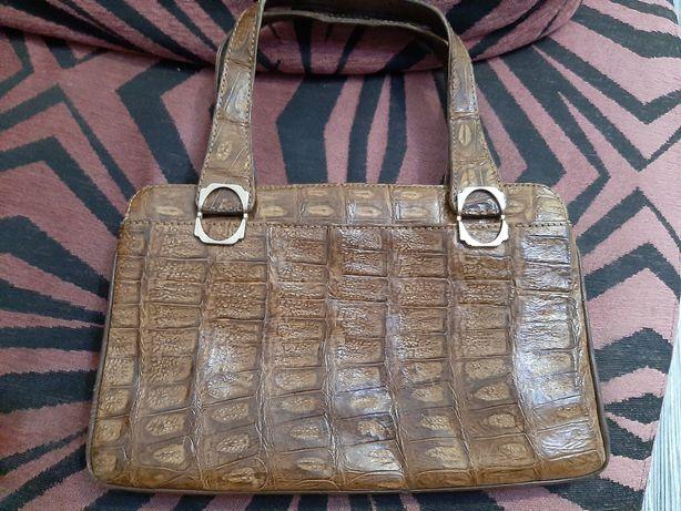 Geanta vintage din piele de crocodil