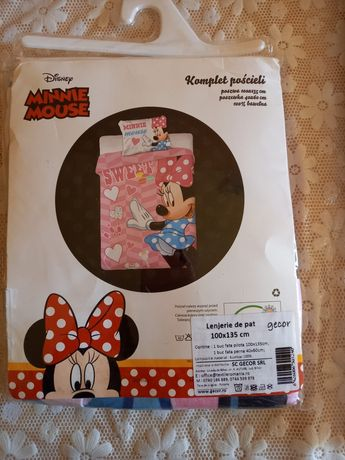 Minnie mouse. Lenjerie pat copii. Nouă.