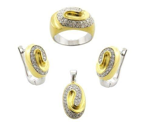 set dama argint 925 placat cu aur cercei pandativ si inel