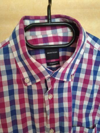 Риза мъжка с къс ръкав-карирана Монтего (Montego). Размер 37/38 S