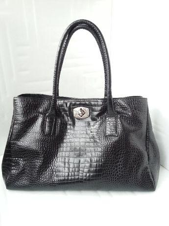 Furla 'New Appaloosa' Black Croc Embossed Leather дамска чанта