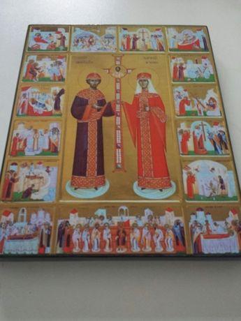 Vand icoana litografiata SF Constantin si Elena