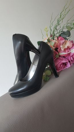 Pantofi negri piele dama fabricati in Romania, nr. 37, purtati 3-4 ore