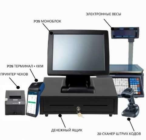 POS-моноблок, весы, сканеры штрих-кодов,принтер чеков,принтер этикеток