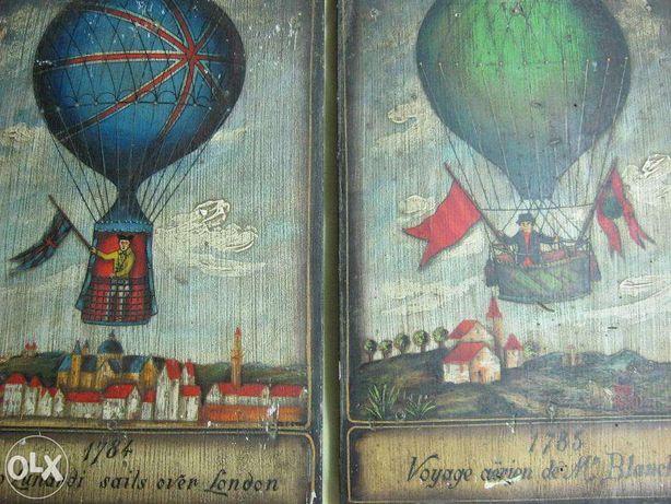 2 buc picturi,ulei pe lemn.Zboruri baloane aer cald.