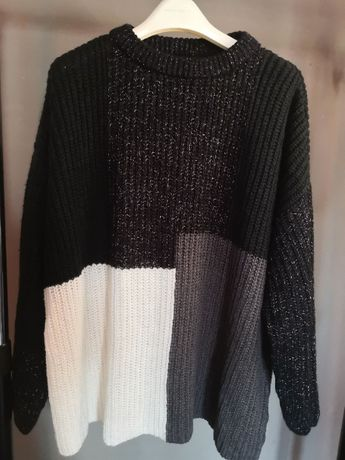 Дамски многоцветен (черен, бял, сив) пуловер Рейнбоу