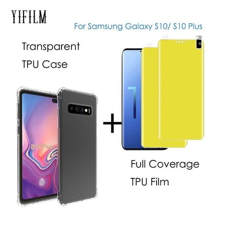 Samsung S10 S10E S10+ Pachet Husa Silicon Clara/Neagra + Folie Sil