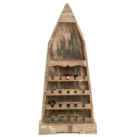 ТОП ЦЕНА!Лодка-полица за бутилки от рецикл. троп. дърво. ID5725