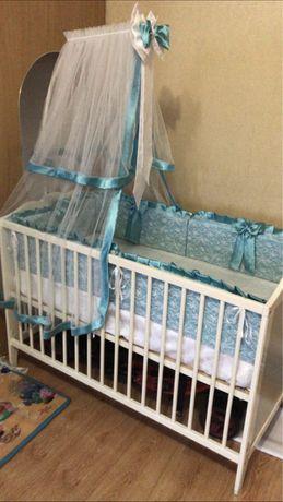 Детская кроватка, бортики, балдахин