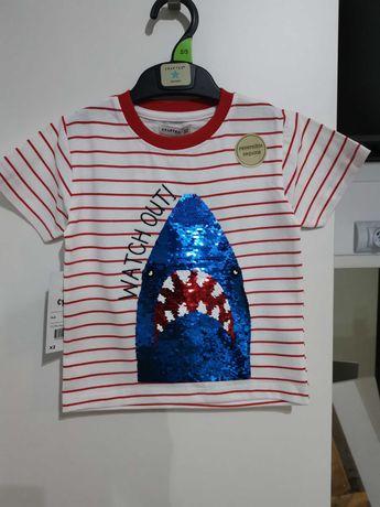Тениска с акула от пайети за момче 2-3 г