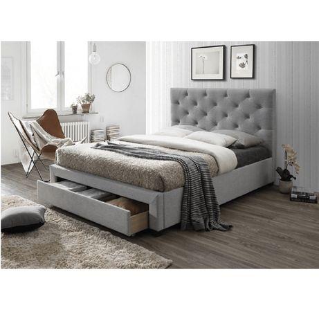 Pat modern cu spaţiu pentru depozitare, textil gri, 160x200, SANTOLA