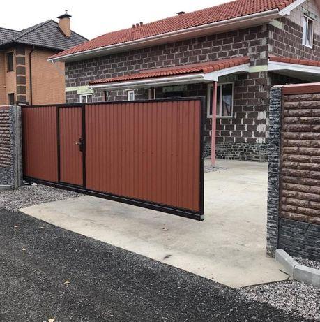 Ворота откатные со встроенной калиткой / изготовление / автоматика