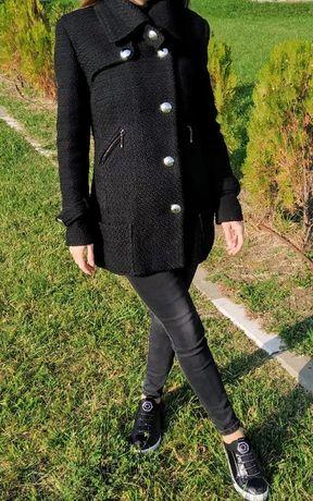 Дамско черно палто