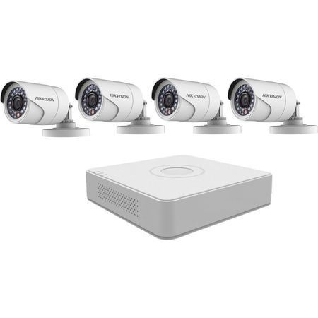 Kit supraveghere video exterior Hikvision, 4 camere supraveghere, DVR